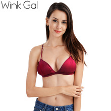 Wink Gal Solid Color Padded Bra Seamless Wireless Bra  Lingerie Brassiere Spaghetti Straps Open Back Sexy Crop Top 10184