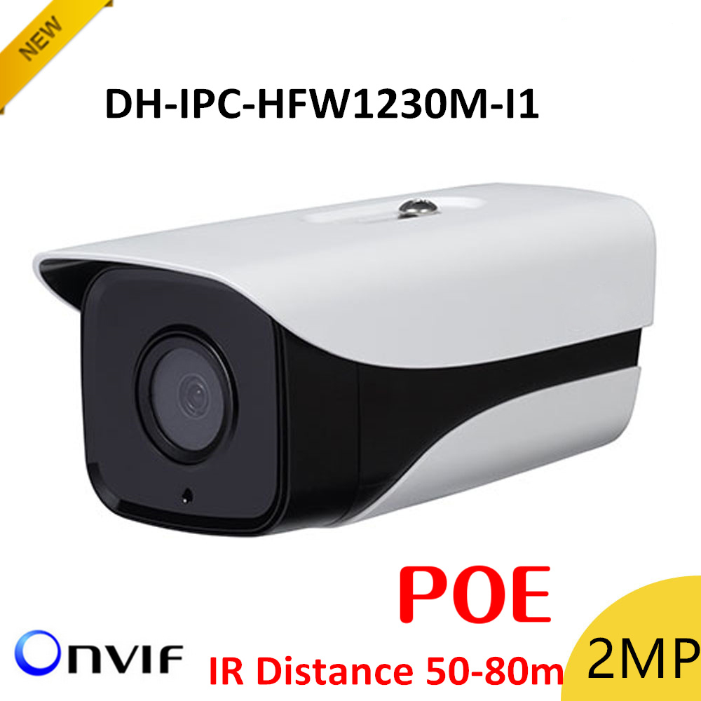 New Arrival DH 2mp POE IP Bullet Camera IPC HFW1230M I1 IR disstance 50 80m H