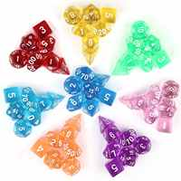 7 pc/bag Transparent Acrylic Multiple Color Options Dice Set for RPG Dungeons and Dragons MTG Board Game Dice
