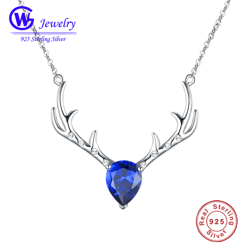 925 Sterling Silver Deer Pendant Necklace With Blue Swarovski Crystals Christmas Gifts Women Clothing Accessories Black Friday