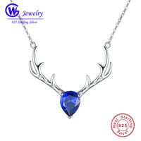 925 Sterling Silver Deer Pendant Necklace With Blue Swarovski Crystals Christmas Gifts Women Clothing Accessories Black