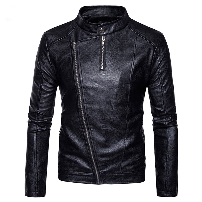 Motorcycle Leather Jacket 2017 Fashion Oblique Zipper Stand Collar Men's Winter PU Leather Jacket Coat Casual Men Leather Jacket