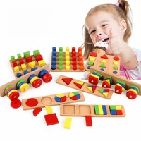 8 pcs Montessori Geometry Shapes,Knobless Cylinders, Fraction,Stacking Sorting Board Montessori Materials Wooden Educational Toy