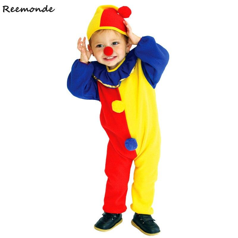 Children Clown Cosplay Costumes Circus Harlequin Clown Joker Bodysuits Jumpsuits Hats Halloween Christmas For Kids Girls Boys
