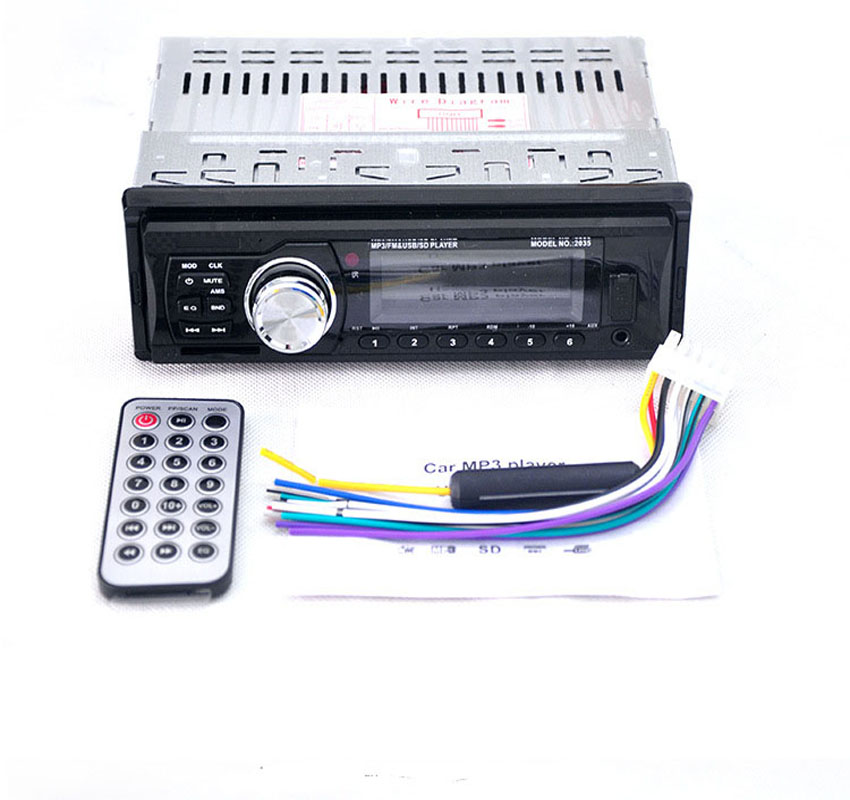2017 НОВЫЙ 2035 1-DIN 12 В Автомобильный радиоприемник Аудио Стерео MP3-плееры CD-плеер Поддержка USB SD Mp3-плеер AUX-плеер с пультом