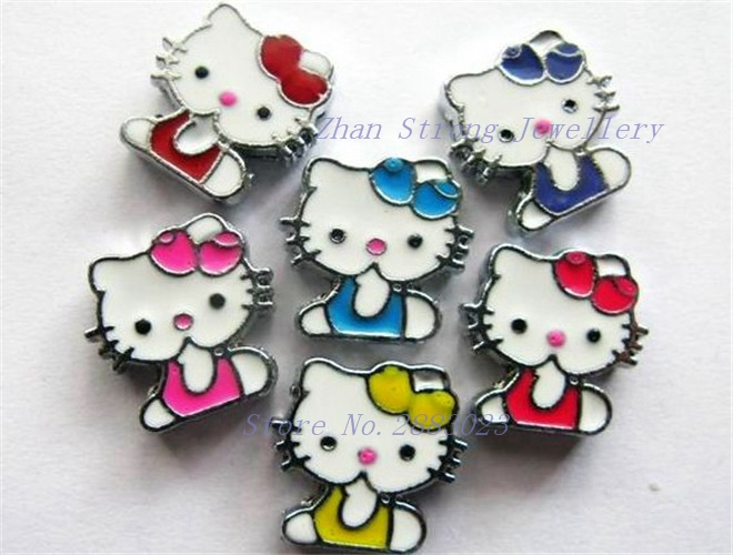 Hot 10pcs-50pcs-100pcs 8mm Mixed Color Cat With Bow Slide Charms Fit 8mm Wristband Pet Collar