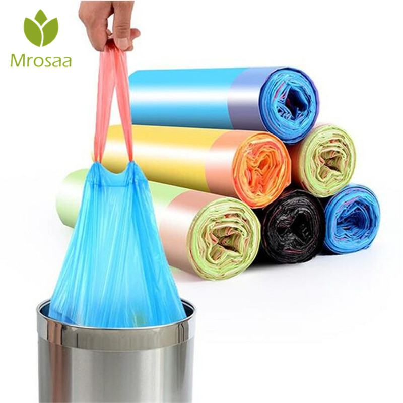 1 rolls(15pcs/roll) Thicken Kitchen Trash Drawstring Garbage Bags Rubbish Bucket Trash Can Household Cleaning Tools 45x50cm