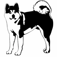 13.4*15.2CM Akita Dog Animal Vinyl Decals Funny Car Styling Decoration Reflective Stickers Black/Silver C6-1691