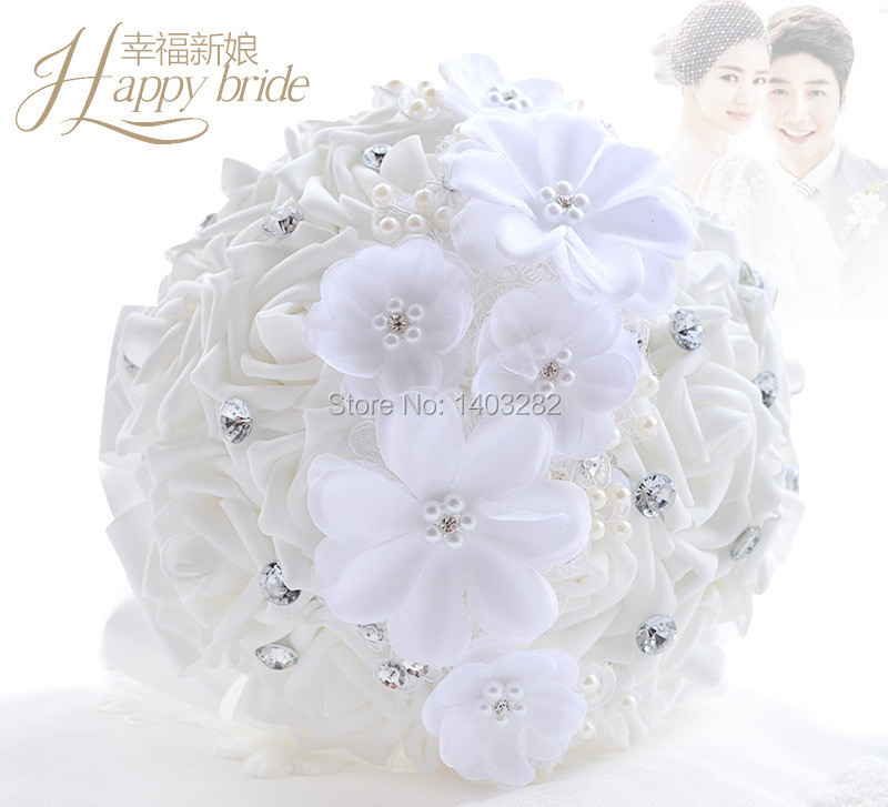 2016 Luxury Crystal Wedding Bouquets White Bridal Silk Bouquet Mariage Handmade Bridesmaid Bouquets Ramos De Novia