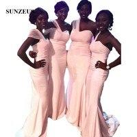 Черный Обувь для девочек нарядные платья для свадьбы одно плечо розовый атлас Русалка Подружкам невесты Abito cerimonia Donna