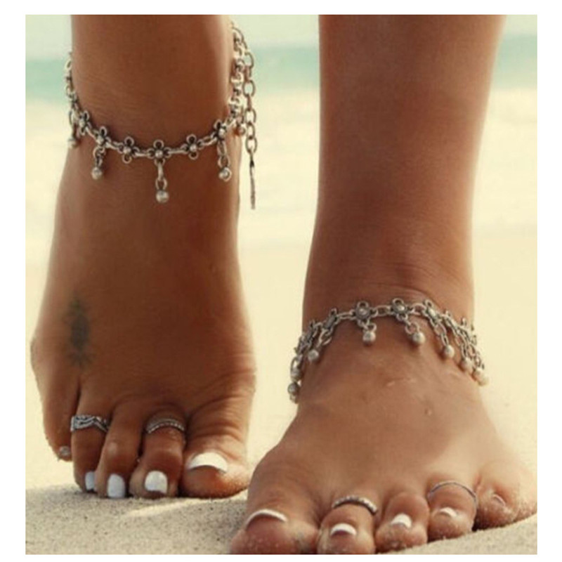 European and American style jewelry wholesale simple retro carved hollow droplets fringed beach foot decorated anklets female
