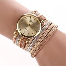Watch Women Clock Crystal Rivet Bracelet Quartz Braided Winding Wrap Best Wrist Watch Bracelet Comfortable Vintage Popular C5