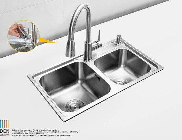 (680*390*220mm) 304 mélangeur d'évier brossé en acier inoxydable Double évier encastré ensemble pour évier rectangulaire de cuisine Cobbe