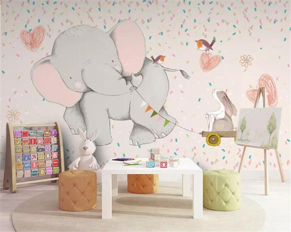 Beibehang Wallpaper For Walls 3 D  Cute Cartoon Elephant Rabbit Children Room Background Wall Wallpaper Home Decor Papier Peint