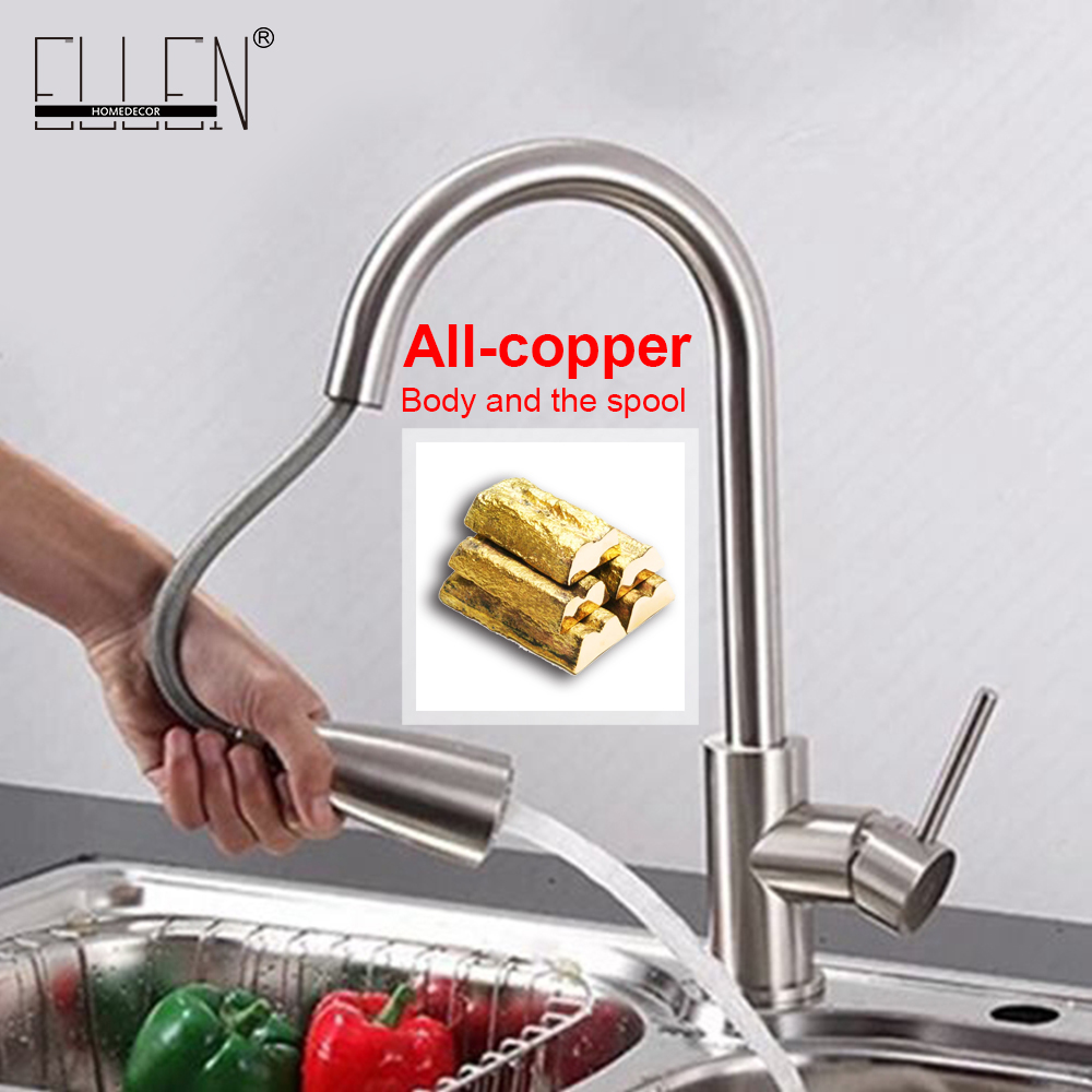 Pull out kitchen faucet nickel brushed hot and cold kitchen mixer tap rotatable water tap for kitchen newly arrived pull out kitchen faucet gold sink mixer tap 360 degree rotation torneira cozinha mixer taps kitchen tap