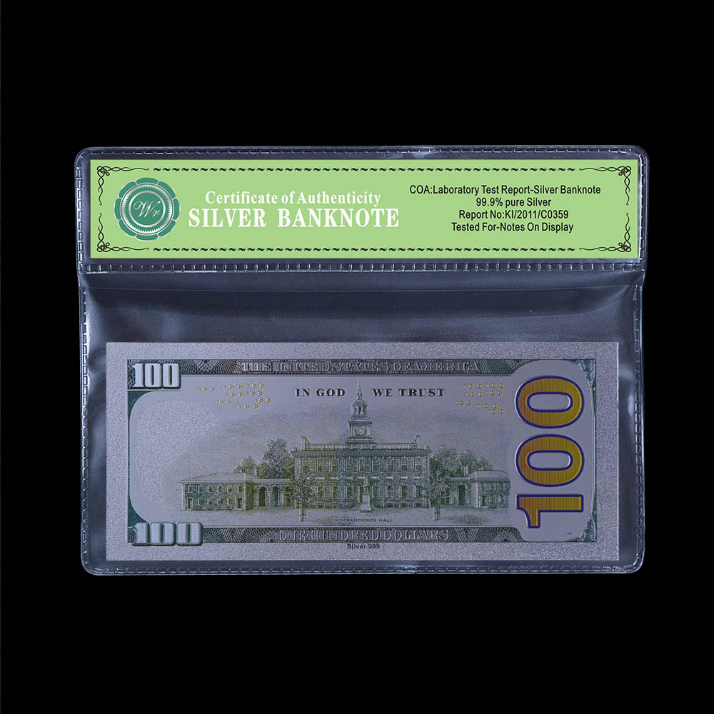 Usa Silver Banknote 100 Dollar Pure Silver Foil With Certificate Of