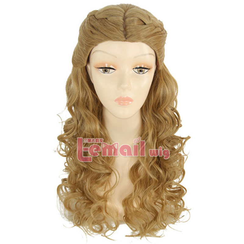 2015 New Cinderella None Lace wiges Long Wavy synthetic wigs Blonde Anime princess Cosplay Wig