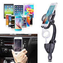 Car USB 2in1 Dual Charger Holder Mount Cigarette Lighter Chargers For Cell Phone G6KC