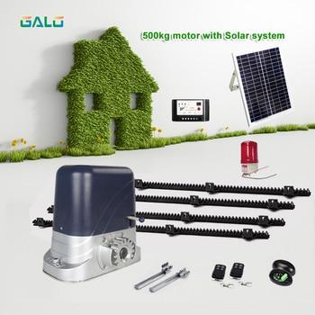 DC SOLAR POWER AUTOMATIC SLIDING DOOR GATE OPENER with 4m Nylon racks 1 flash light 1 pair of photocells 4