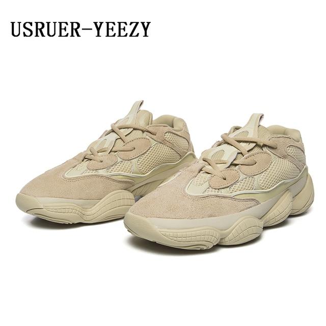 sports shoes 0d622 73eb9 € 62.01 |USRUER YEEZY Stimule 500 chaussures de course en cuir Véritable  lBlush gris New West Desert Rat Meilleure Qualité Hommes Femmes Sport ...
