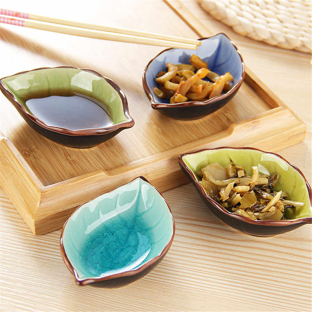 1PCS Creative Handcraft Leaves Ceramic Plates Kitchen Vinegar Seasoning Sauce China Dinnerware  Japanese Sushi Dishes Snacks