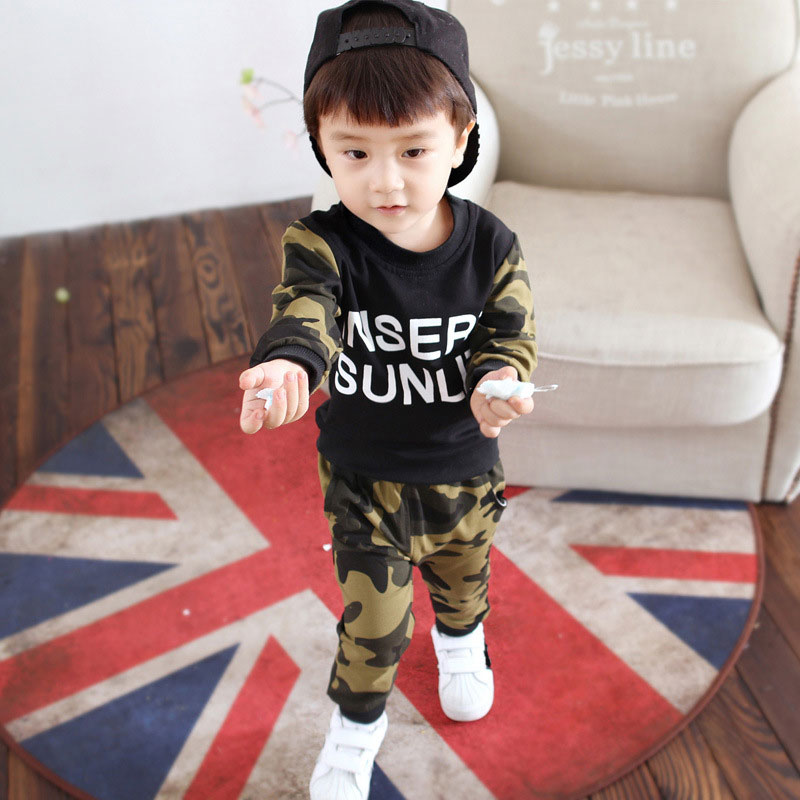 2pcs Baby Boys Clothing Set Cotton Camouflage Toddler Boys Sets Infant Long Sleeve T shirt Pants Suit Newborns Clothing Sets in Clothing Sets from Mother Kids