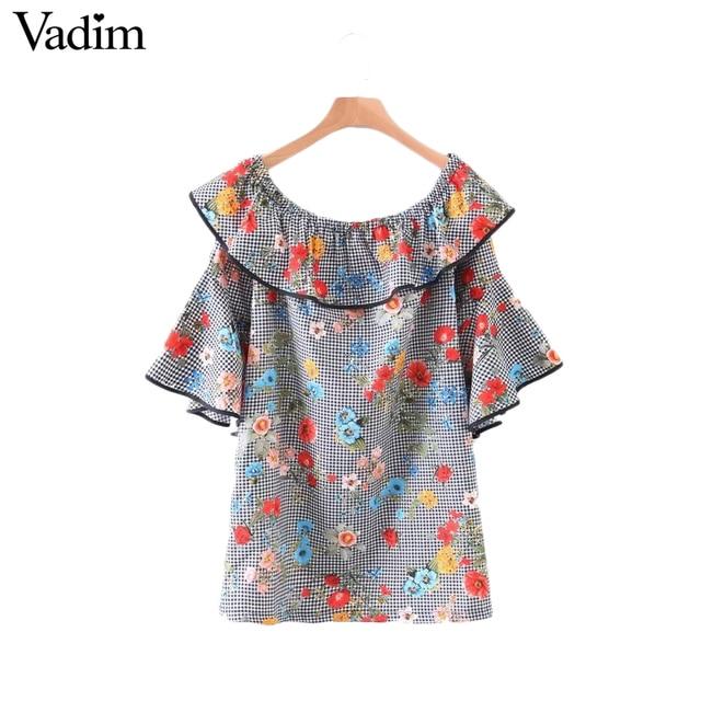 Vadim sweet оборками с плеча цветочные плед dress slash шеи бабочка рукавом свободные мода повседневная платья vestidos qz3013