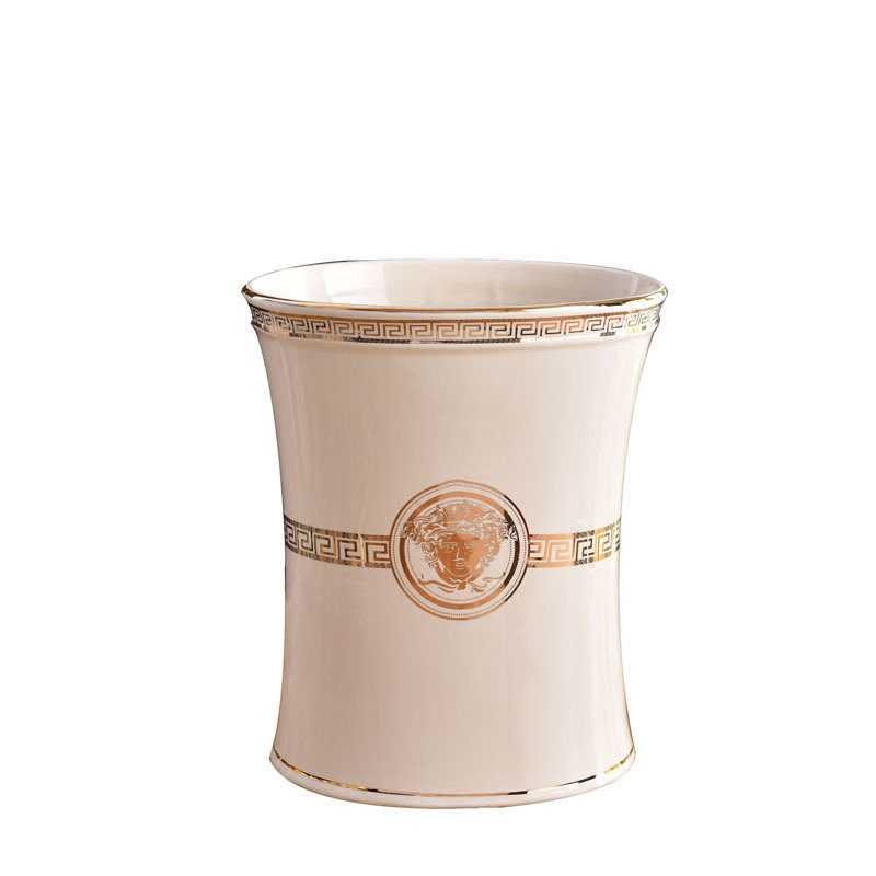 Bathroom Waste Bin Parlour Trash Can Restaurant Dustbin KTV storage bucket Ceramics Storage Bucket Bedroom Luxury