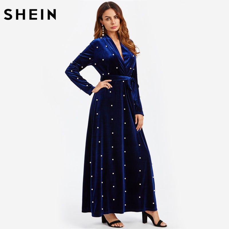 SHEIN Pearl Beaded Surplice Wrap Plunging A Line Velvet Dress Royal Blue Deep V Neck Elegant