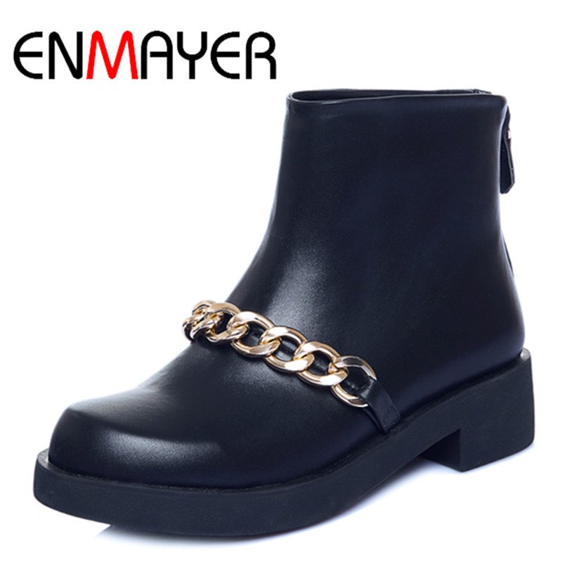 ФОТО ENMAYER Women Mid-calf Boots Shoes Women Classic Black Shoes Size 34-39 Winter Wram Platform Boots Round Toe Motorcycle Boots