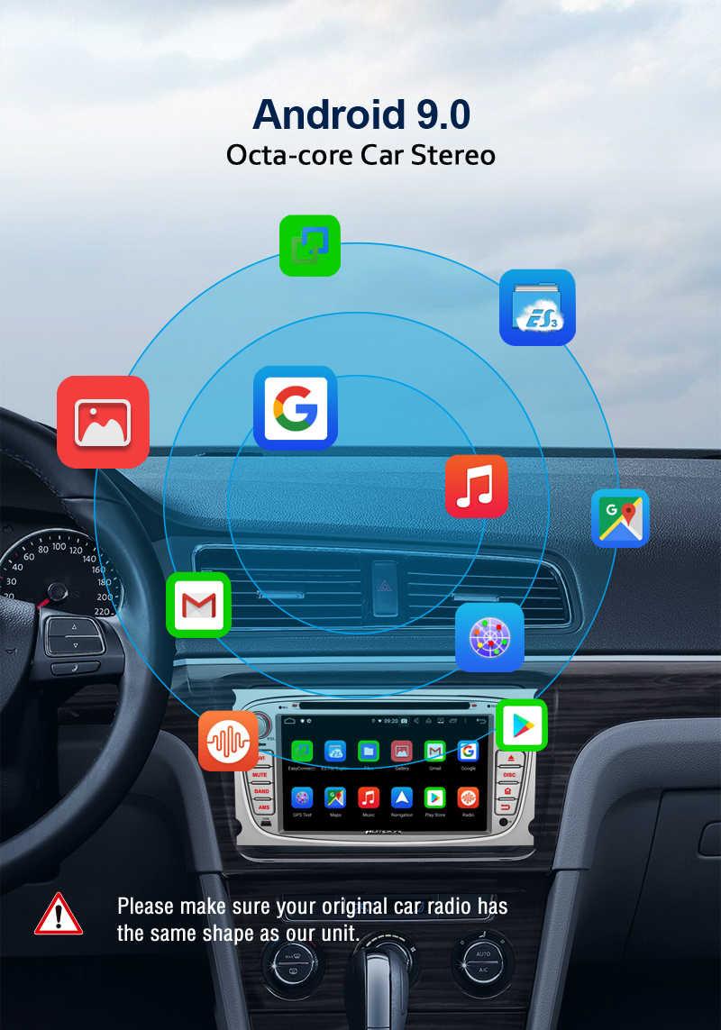 ฟักทอง 2 Din 7 ''Qkta-Core 4GB RAM 32G ROM Android 9.0 นำทาง GPS สำหรับ Ford โฟกัส/Mondeo รถวิทยุสเตอริโอ DVD Player