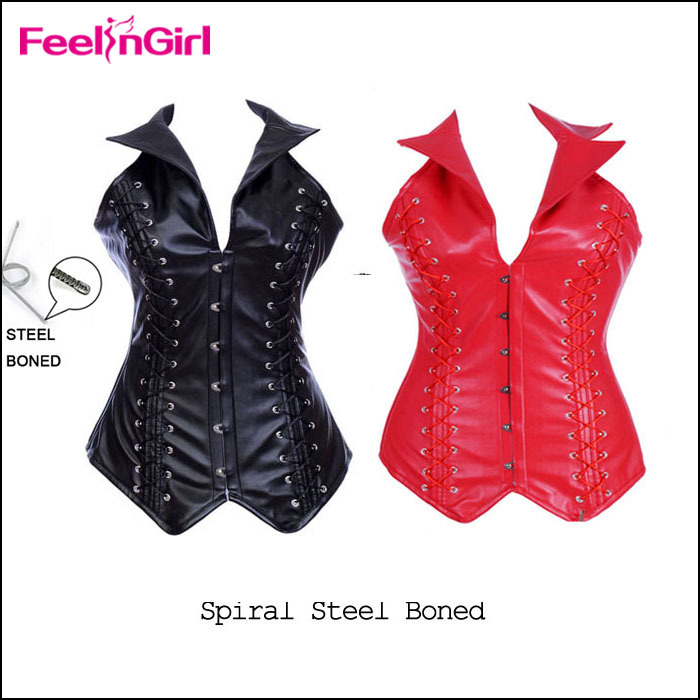 Sexy Red/Black Jacket Tops PVC Steel Boned leather Corset