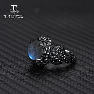 Image 3 - Klassische frauen Edelstein RING 925 Sterling silber edlen schmuck natürliche Blau Labradorit mondstein feine schmuck von tbj