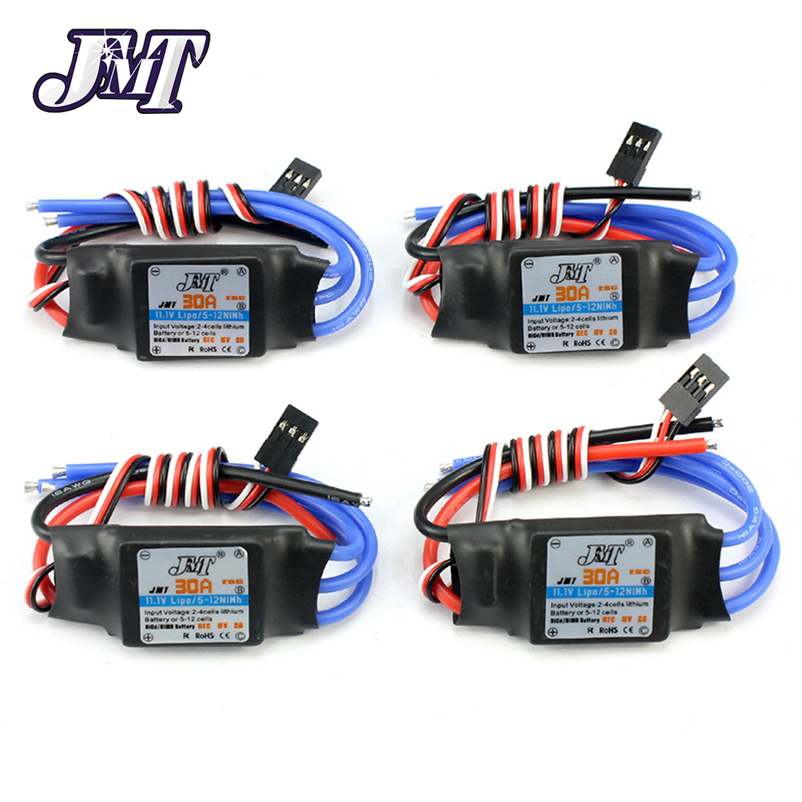 JMT 4Pcs 30A Speed Controller Brushless ESC For DIY FPV RC Quadcopter F450 Multi-Rotor Aircraft Helicopter F18203-4 a2212 1000kv brushless outrunner motor 13t for rc aircraft kk quadcopter ufo 30a esc for multicopter 450 x525 quadcopter