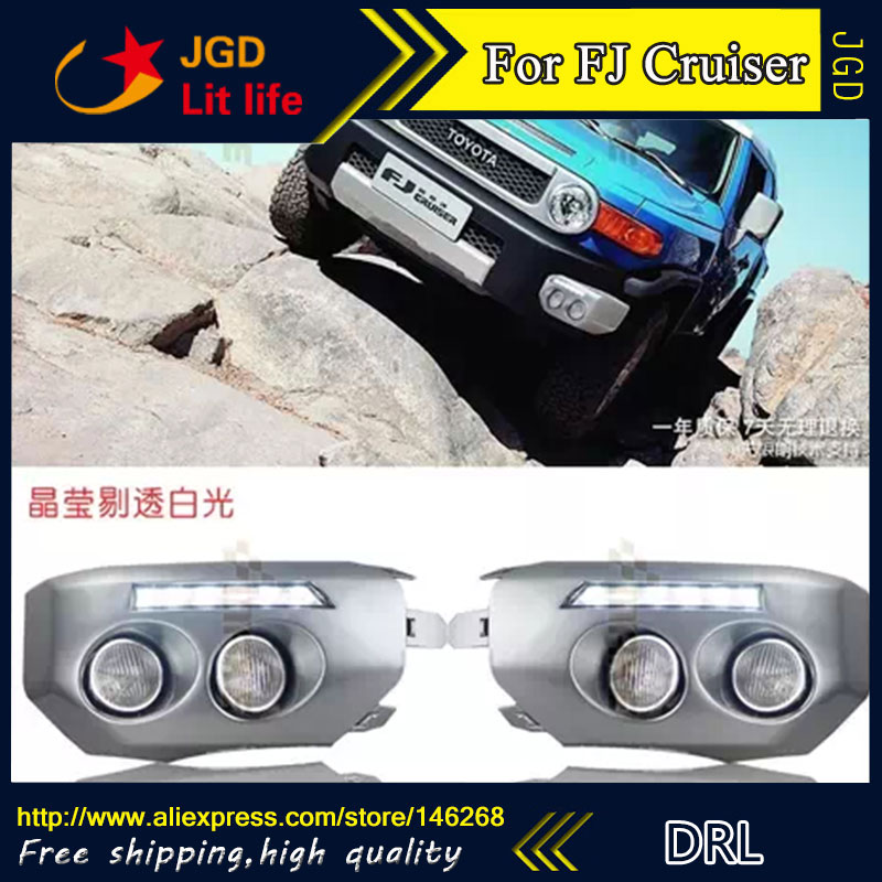 Free shipping ! 12V 6000k LED DRL Daytime running light for Toyota Fj CRUISER 2010-2012 fog lamp frame Fog light Car styling