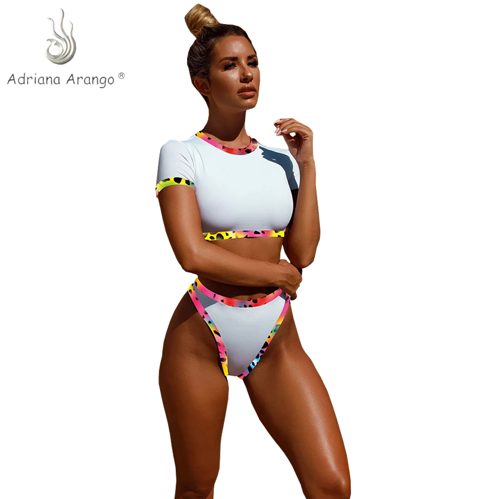 quality products luxury fashion coupon code Adriana Arango 2019 Unique Short Sleeves High Waist Bikini Swimwear  Contrast Women Summer Swimsuit Beachwear