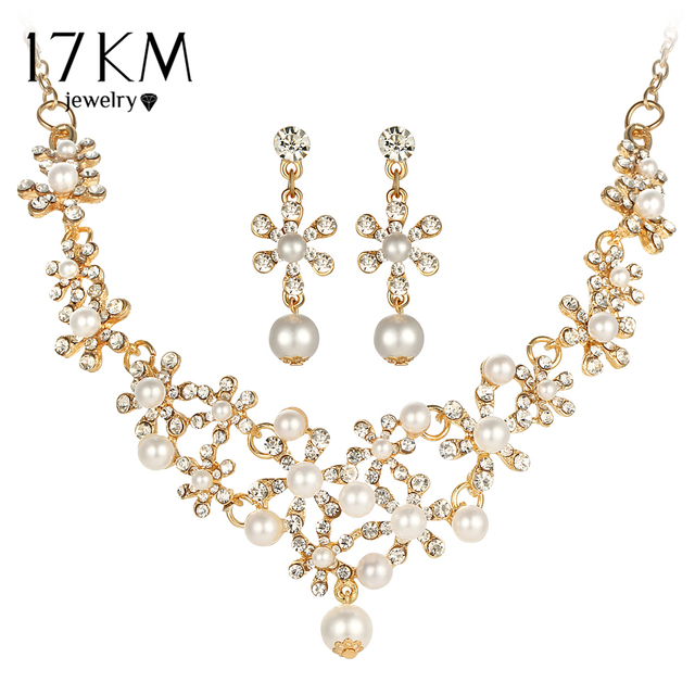 17KM 2 Color Crystal simulated Pearl Flower Necklace and Earring Pendant Jewelry Set for Women New Romantic Wedding Jewelry