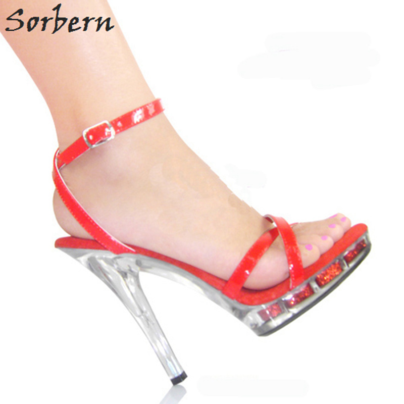 Sorbern 2018 Women Sandals Shoes Plus Size 35-46 Chinese Size Buckle Strap 15CM Clear Heels Sandalias Mujer 2018 Platform Shoes hot sale pvc transparent sandals for women ankle strap crystal clear chunky heels sandalias mujer women shoes plus big size