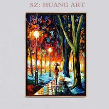 Vestibule painting Attractive lady walking in the busy city road hand-painted  hanging frameless decorative