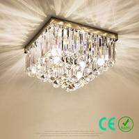 Chandelier Light E14 95 245v Stainless Steel K9 Crystal Big Square Modern Simple Bedroom Light Hotel