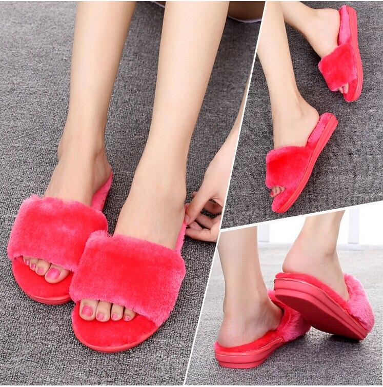 2017 winter fashion big fluffy slippers abb cotton base cloth slippers female indoor antiskid red shoes at home 35-40 телефонная розетка abb bjb basic 55 шато 1 разъем цвет черный