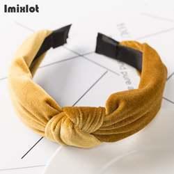 Imixlot бархат ободок с бантом одноцветное Цвет 3 мм широкая повязка на голову женские модные повязки для волос Для женщин аксессуары для волос