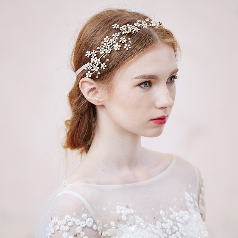 Dower me 2016 Pretty Handmade Gold Bridal Flower Hair Vine Accessories  Crystal Wedding Headband Women hair Jewelry 8c7f719c5ff