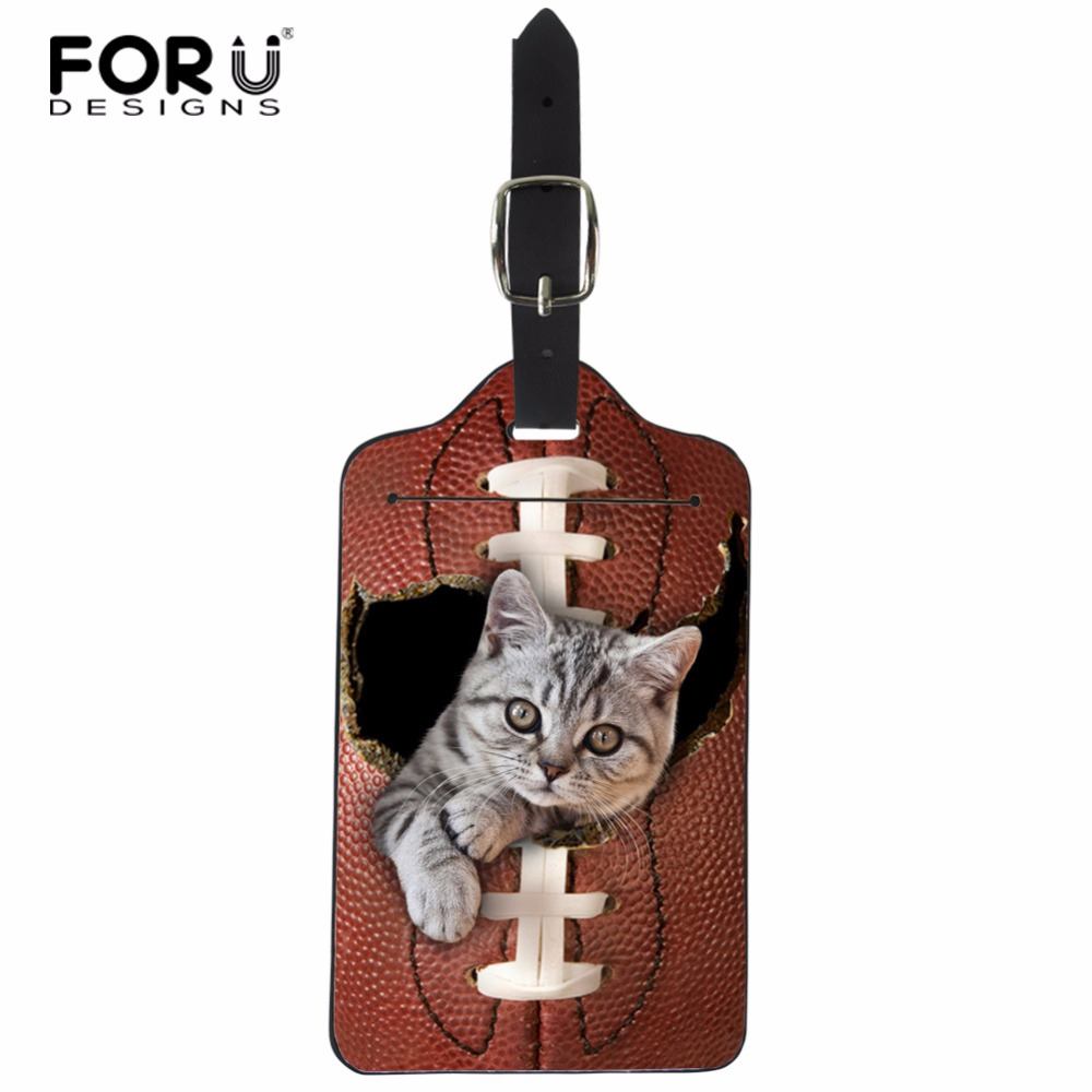 FORUDESIGNS Lovely Cat Luggage Tag Travel Accessories Suitcase Label Card PU Waterproof Portable Handle Bag Baggage Travel Tags