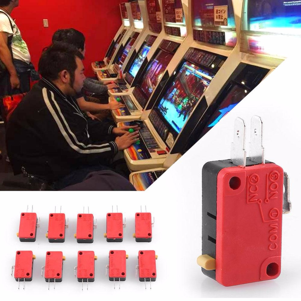 Cewaal 10Pcs/set Arcade Replacement Parts Module Push Button Micro Switch 12V Consoles Professional Gaming Console Accessories