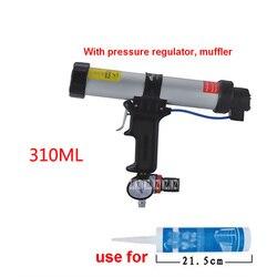 Nuovo 310 ml Tipo di Cartuccia Pneumatica Pistola di Colla Del Silicone Pistola Adatto Per Tamburo di Plastica 215mm-225 m, con Regolatore di Pressione, Silenziatore