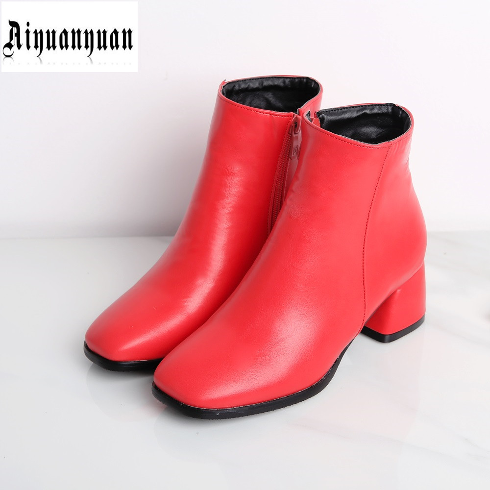 ФОТО Fashion EUR Size to 43 44 45 46 47 Square Toe design High quality PU Ankle Boots zipper design Square heel Boots