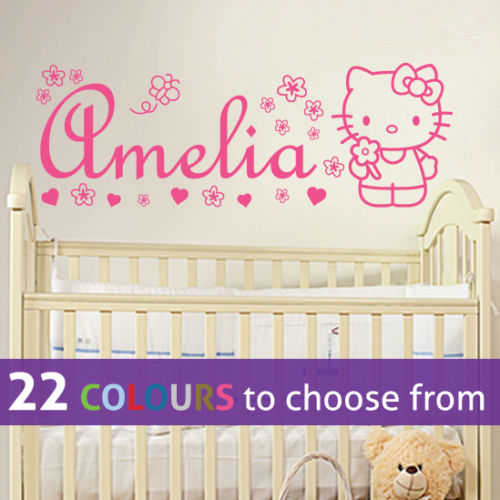 6470f4898 Personalized Name Hello Kitty Wall Sticker Vinyl Decal For Nursery