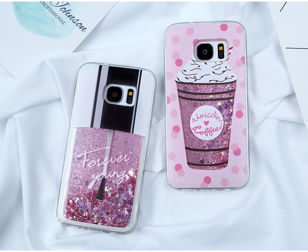 Glitter Liquid Case For Samsung Galaxy A7 2018 A5 2017 J3 J5 J7 2017 S7 S8 S9 Plus Note 9 For Iphone SE 5S 6S 7 8 Plus XR XS Max