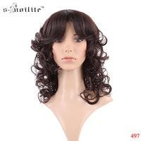 Full Wigs Women S 22 56cm Medium Brown Long Wavy Kanekalon Heat Resistant Costume Daily Dress